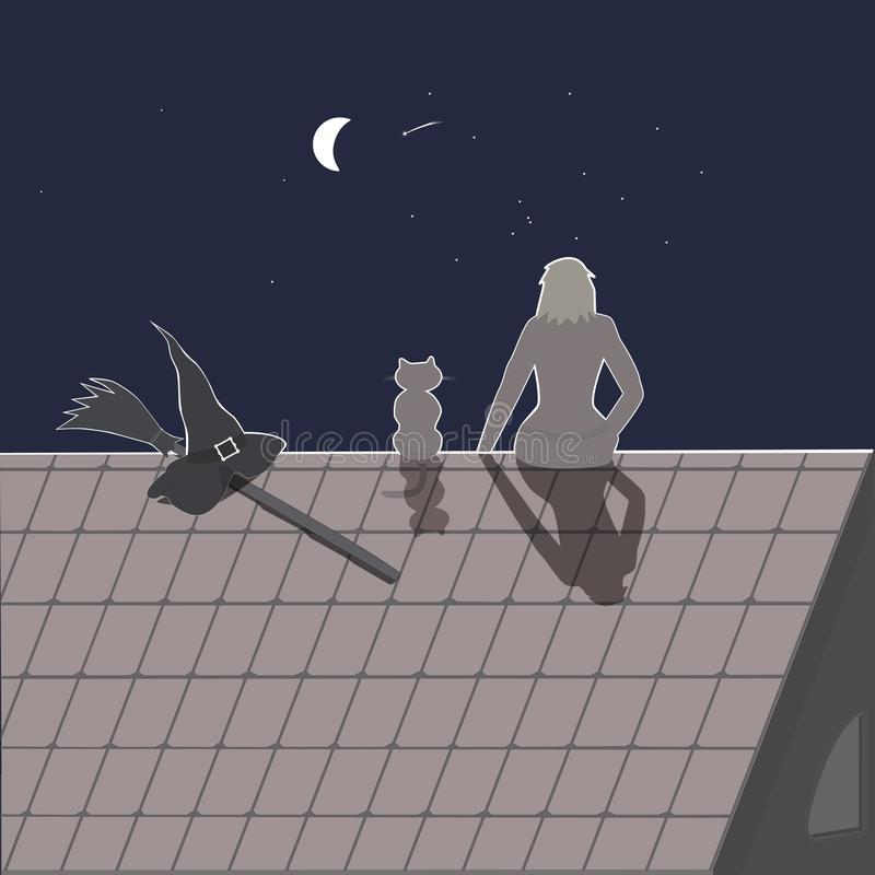 Haloween场面 有她的猫、笤帚和巫婆帽子的女孩在屋顶 皇族释放例证