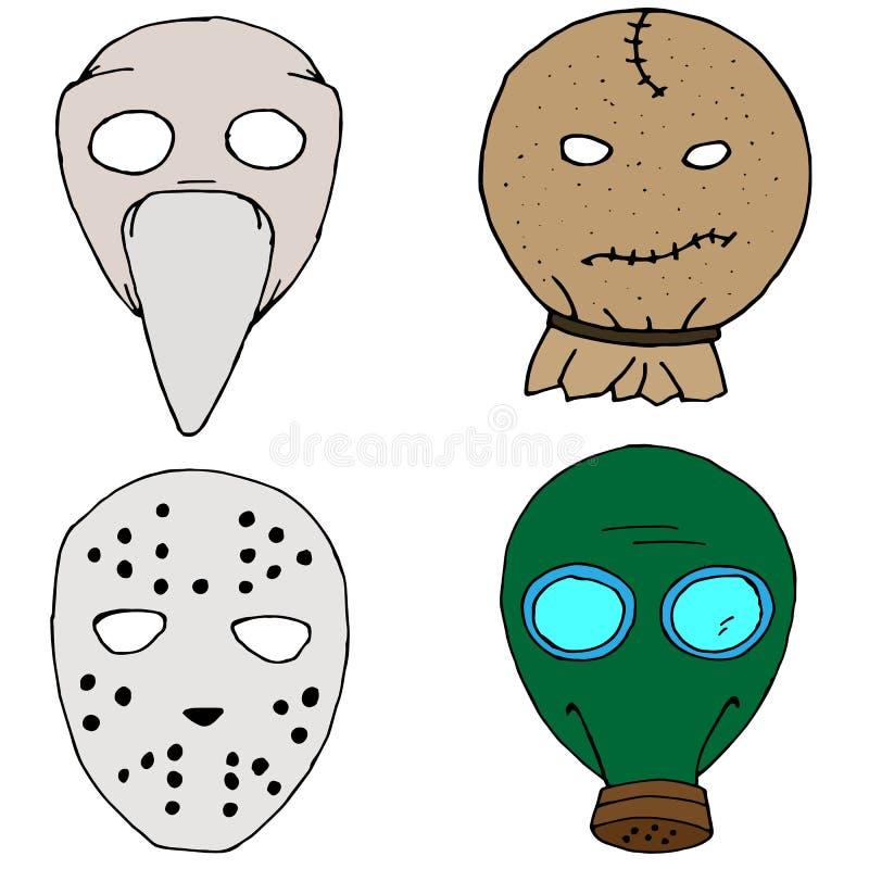 Haloween maski set royalty ilustracja