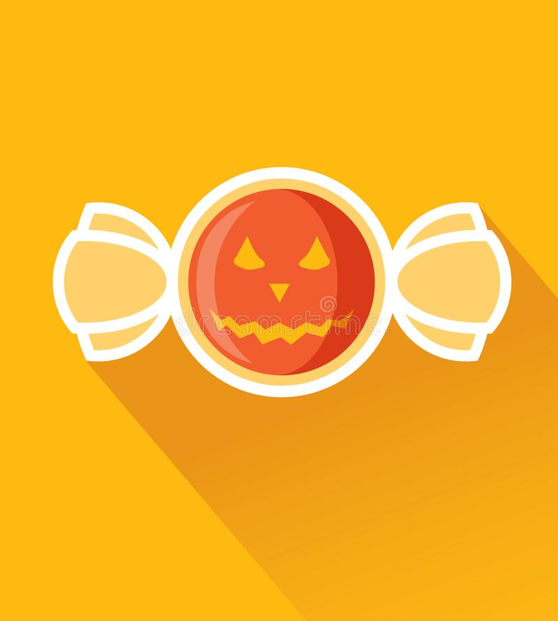 Halloween Candy with Jack O`Latern Pumpkin Flat Design Icon. Concept of Trick or Treat with Sweet Bitter Taste. Modern Flat Design royalty free illustration