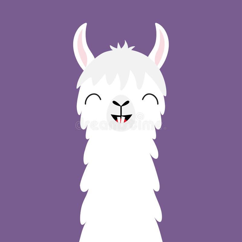 Hals för framsida för lamaalpaca djur roliga tänder Fluffig hårpäls Gulligt tecknad filmkawaiitecken Barnsligt behandla som ett b royaltyfri illustrationer