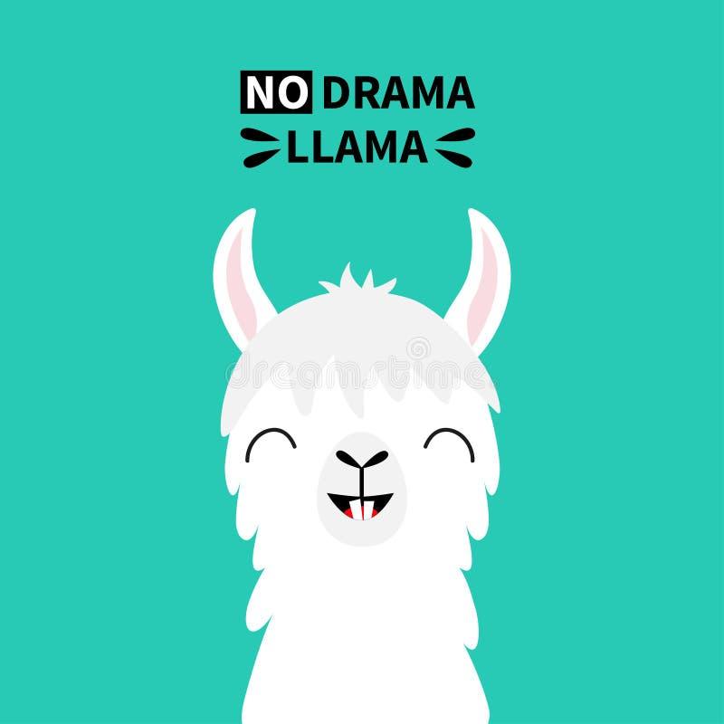 Hals för framsida för lamaalpaca djur, tand Ingen drama Rolig kawaii för gullig tecknad film som ler teckenet Barnsligt behandla  royaltyfri illustrationer