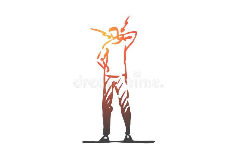 Hals st?lling som ?r d?lig, rygg, m?nskligt begrepp Hand dragen isolerad vektor vektor illustrationer