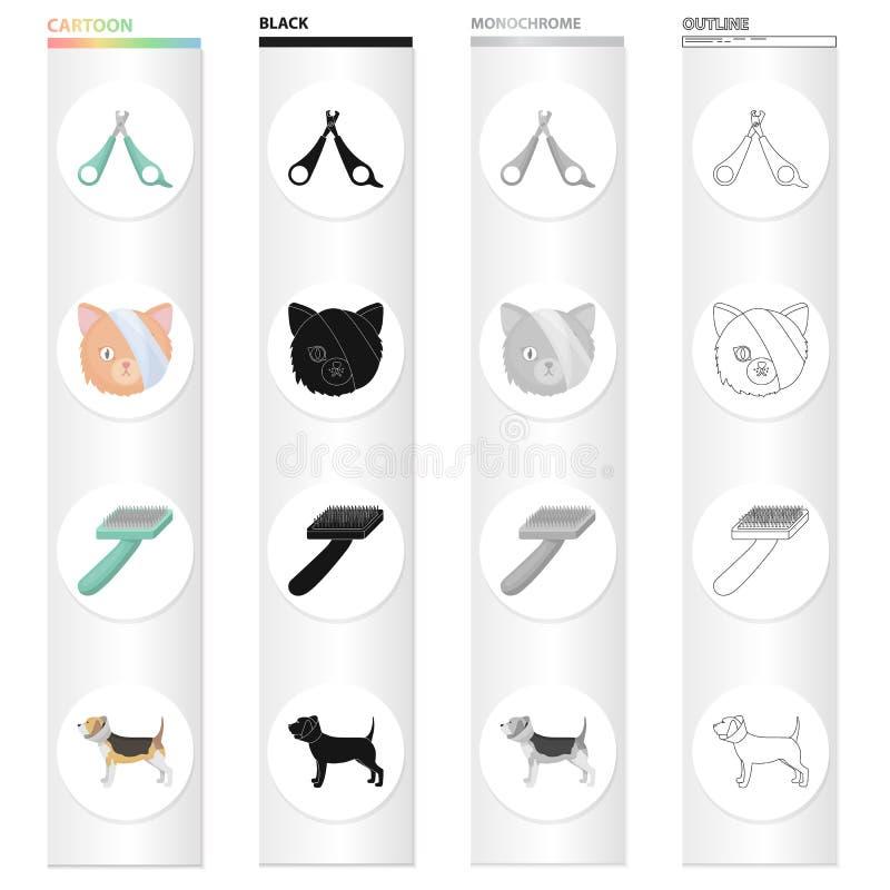 Hals, Tierarzt, Attribute und andere Netzikone in der Karikaturart Hund, Tier, Begrenzerikonen in der Satzsammlung vektor abbildung
