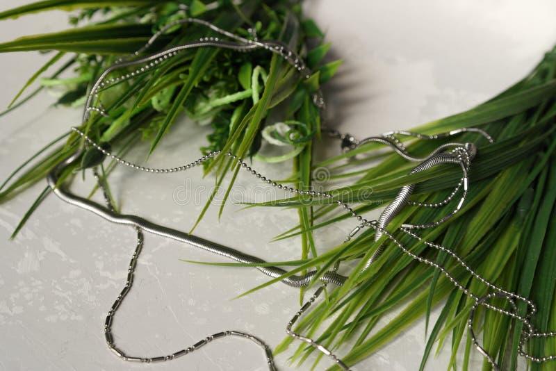 Halsarmband för vit metall royaltyfria foton