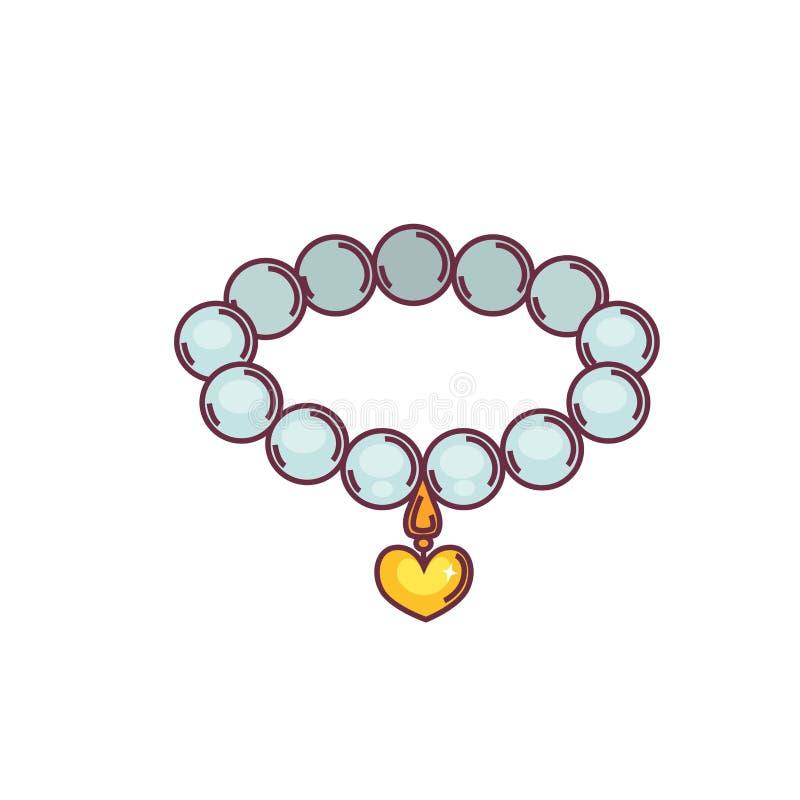 Halsband av pärlor med den guld- hängen som isoleras på vit bakgrund vektor illustrationer