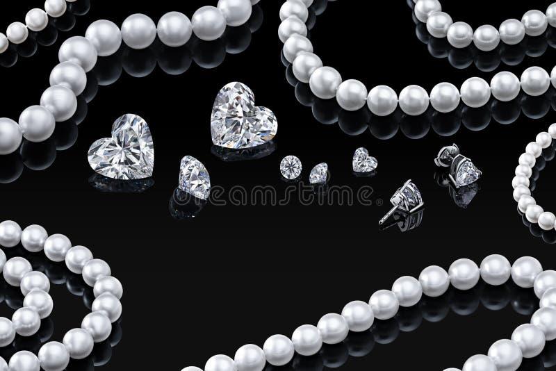 Halsband en de juwelen van de luxe de vastgestelde witte parel met diamanten in oorringen op een zwarte achtergrond met glanzende vector illustratie