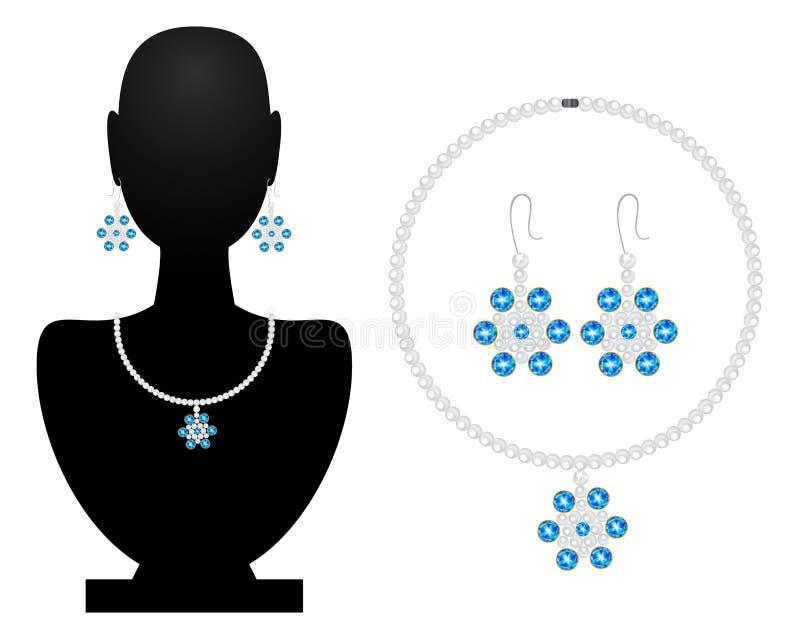 Halsband en oorringen van parels en diamanten vector illustratie