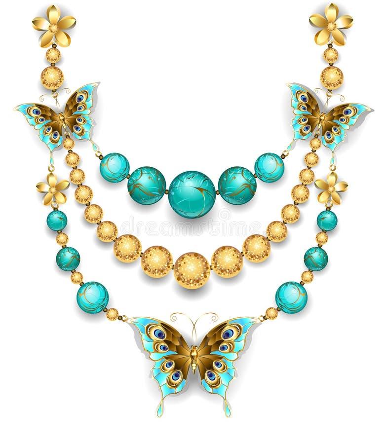 Halsband med turkos stock illustrationer