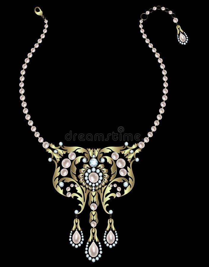 Halsband met parels stock illustratie
