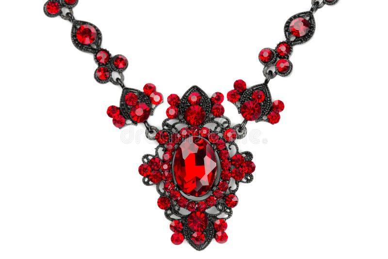 Halsband met robijnen. Close-up. royalty-vrije stock fotografie
