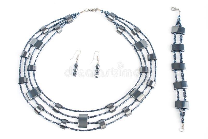 Halsband, oorring, armband royalty-vrije stock afbeeldingen