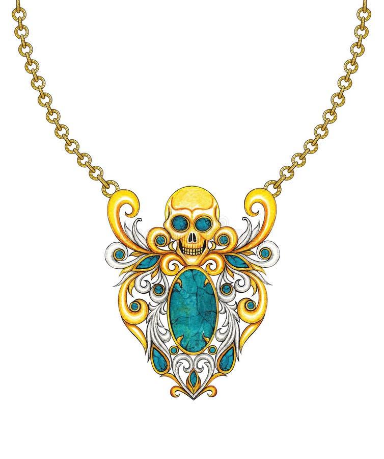 Halsband van de de mengelingsschedel van het juwelenontwerp de Uitstekende vector illustratie