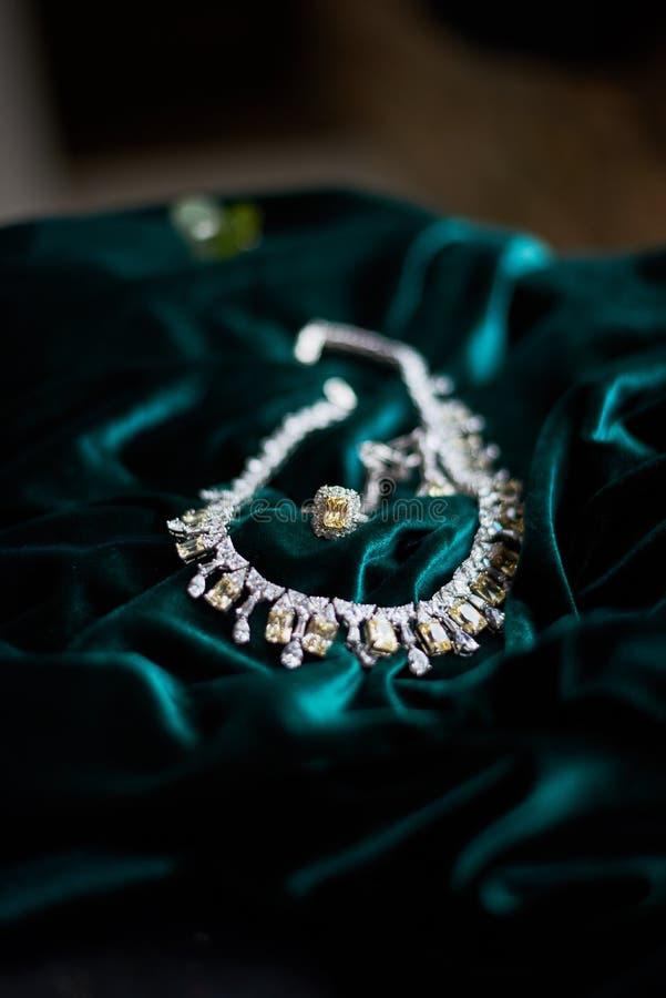 Halsbandbriljant på mörkt - grön sammetbeckground royaltyfria bilder