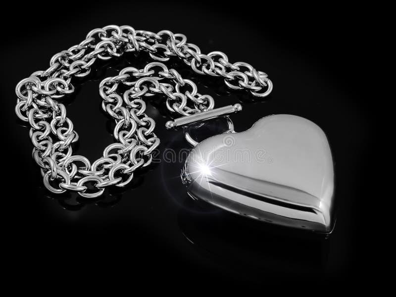 Halsbandhjärta - rostfritt stål royaltyfri foto
