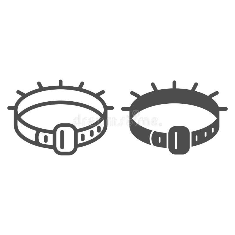 Halsbandlijn en glyph pictogram De vectordieillustratie van de huisdierenkraag op wit wordt geïsoleerd Dierlijk de stijlontwerp v stock illustratie