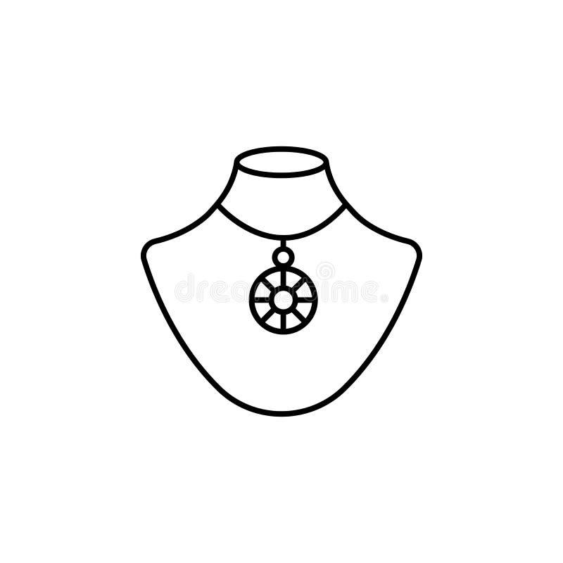 Halsbandsymbol Beståndsdel av smycken för mobil begrepps- och rengöringsdukappsillustration Tunn linje symbol för websitedesign o royaltyfri illustrationer