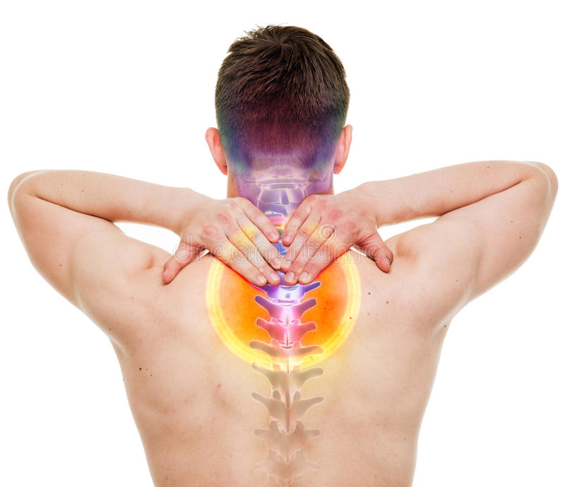 HALSEN smärtar - den cervikala ryggen för den manliga men som isoleras på vit - VERKLIG royaltyfri fotografi