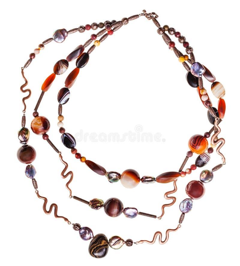 Halskette Achat von natürlichen Edelsteinen und stromatolite lizenzfreie stockfotos