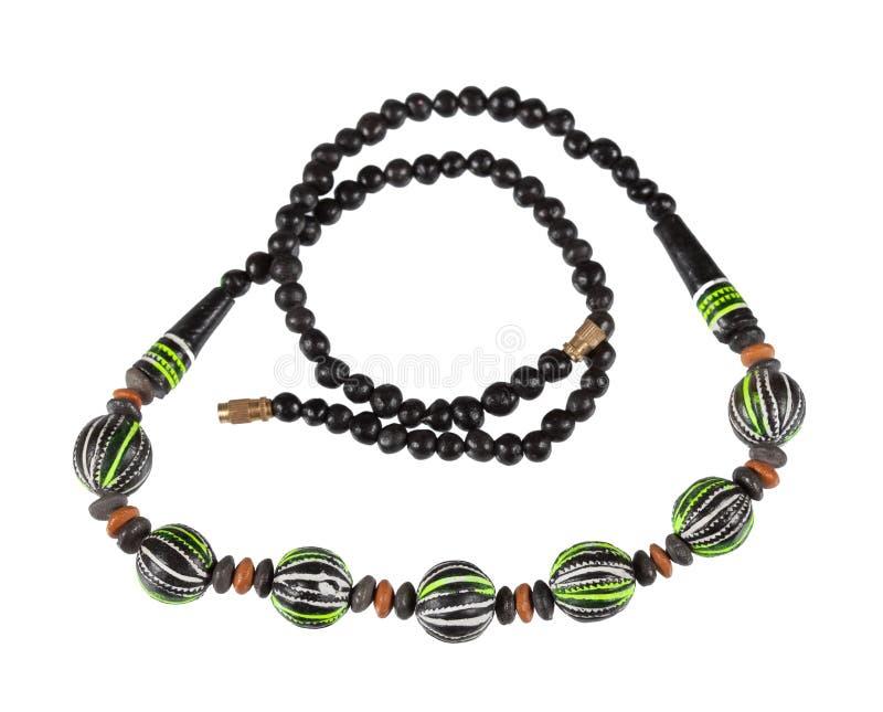 Halskette der Holzperlen stockfotos