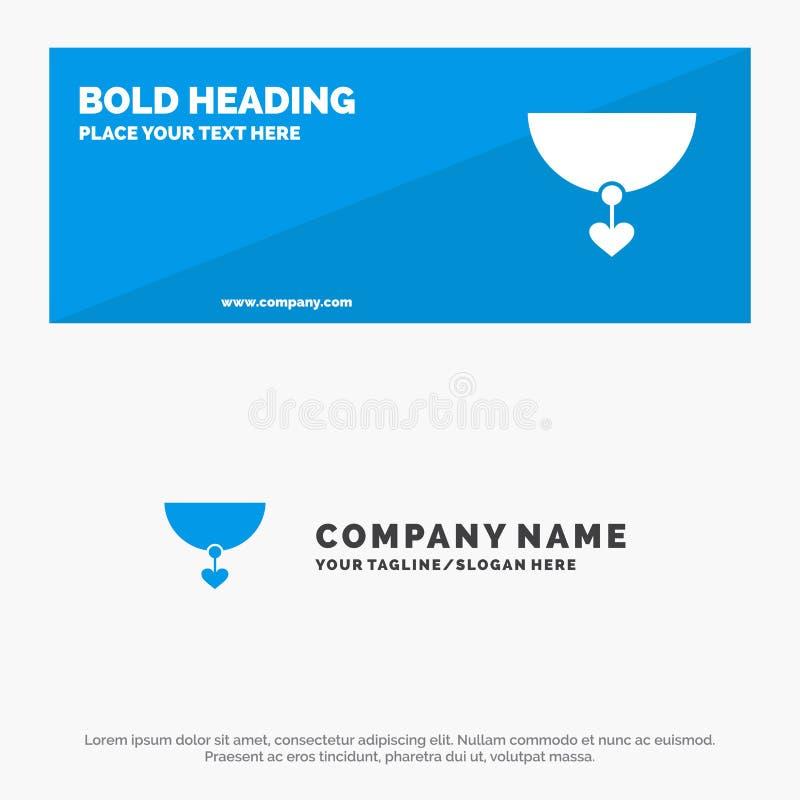Halskette, Herz, Geschenk-feste Ikonen-Website-Fahne und Geschäft Logo Template stock abbildung