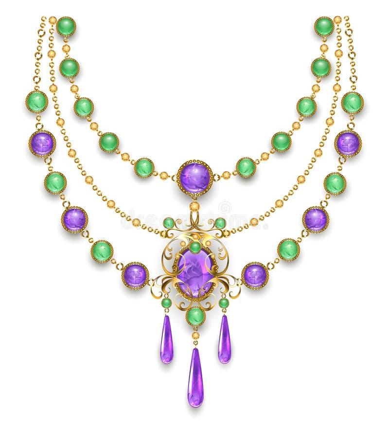 Halskette mit Amethyst und grünen Edelsteinen stock abbildung