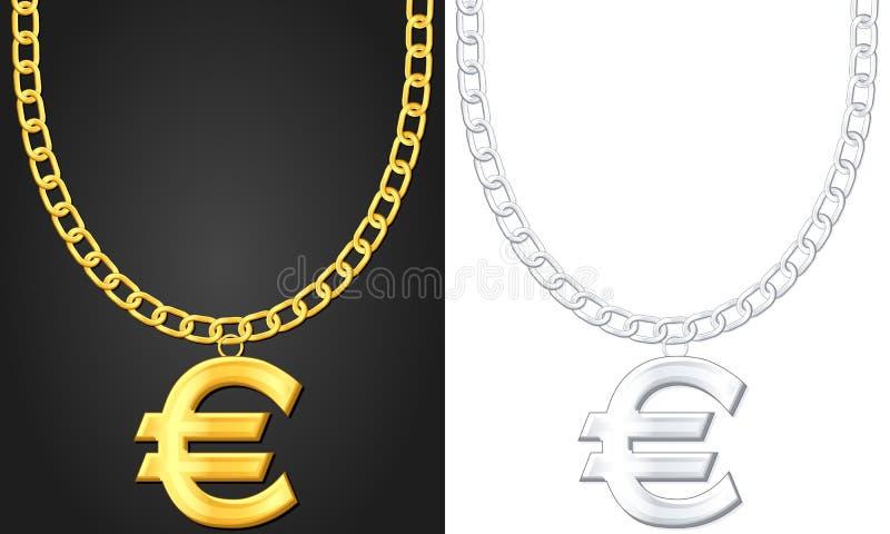 Halskette mit Eurosymbol stock abbildung