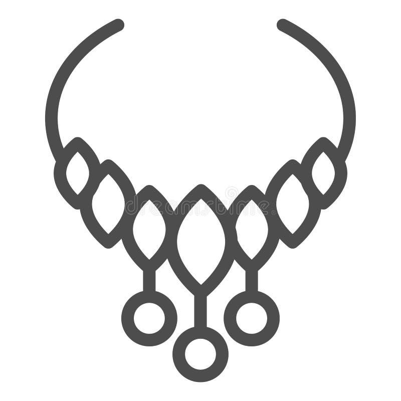 Halskettenlinie Ikone Schmuckvektorillustration lokalisiert auf Wei? Perlenentwurfs-Artentwurf, bestimmt f?r Netz und App vektor abbildung
