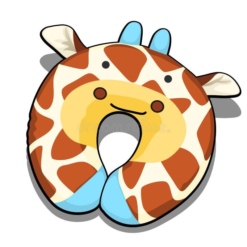 Halskissen maserte die Giraffe, die auf weißem Hintergrund lokalisiert wurde Auch im corel abgehobenen Betrag vektor abbildung