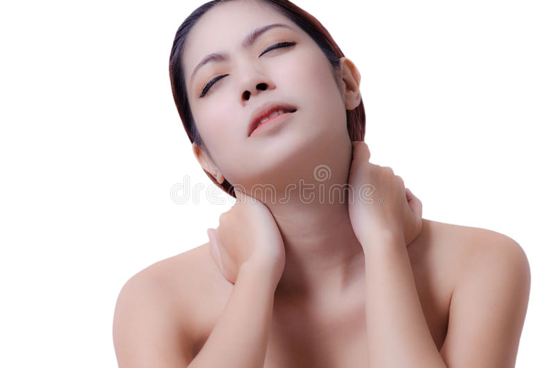 Halspijn stock afbeeldingen