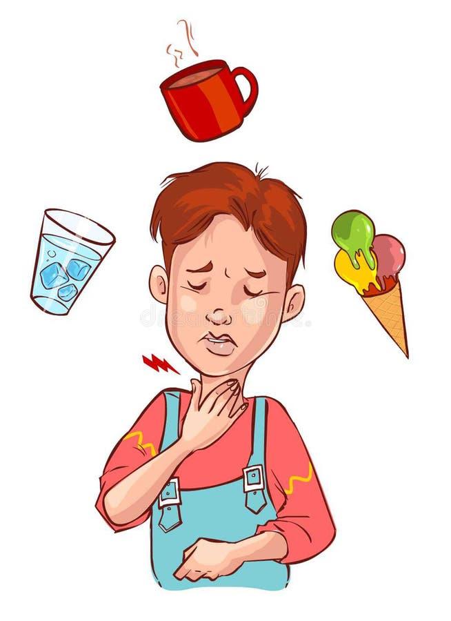 Halsschmerzenkind vektor abbildung