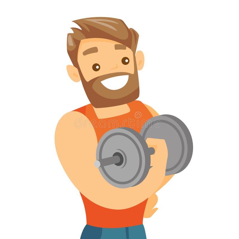 Haltère de levage de jeune bodybuilder blanc caucasien illustration de vecteur