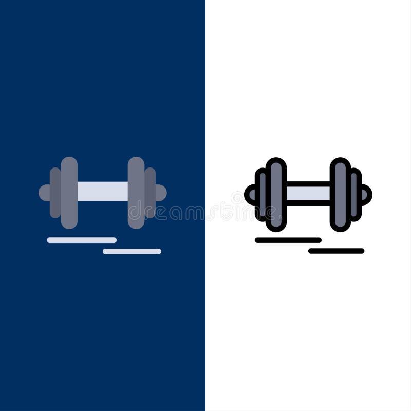 Haltère, forme physique, sport, icônes de motivation L'appartement et la ligne icône remplie ont placé le fond bleu de vecteur illustration libre de droits