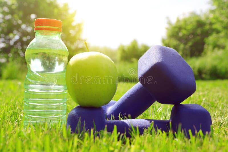 Haltères avec la pomme et bouteille avec de l'eau dans l'herbe photos stock