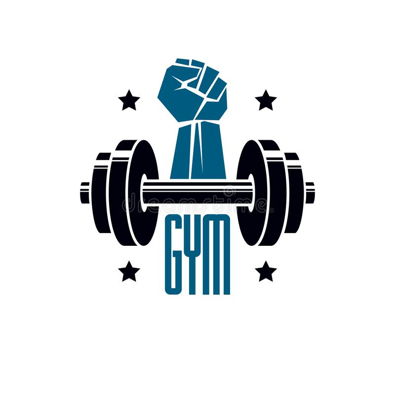 Haltérophilie de gymnase et logo de club de sport de forme physique, rétro VE stylisé illustration stock