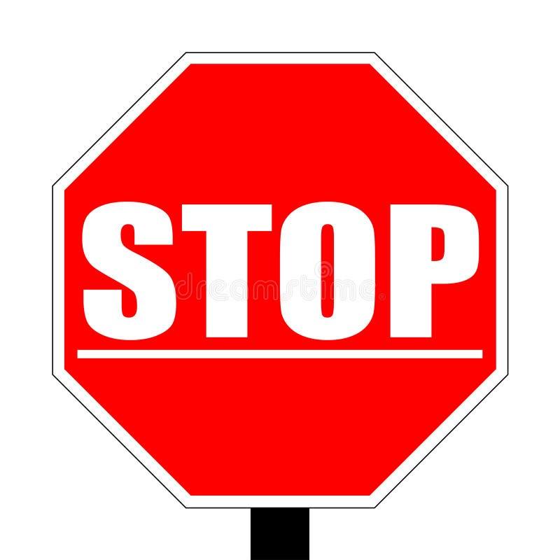 Halt unter gezeichnetem warnendem rotem Verkehrsschild vektor abbildung