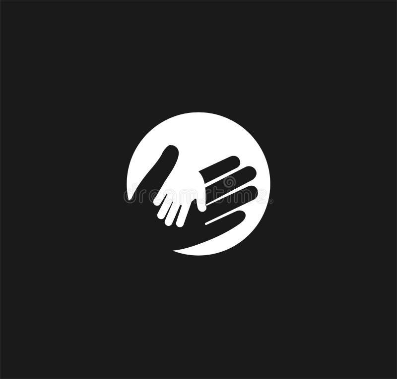 Halten der Hand eines Kindes in der Hand eines erwachsenen Vektorlogos Weltvater Day Symbol von Sorgfalt, Güte, Familie vektor abbildung