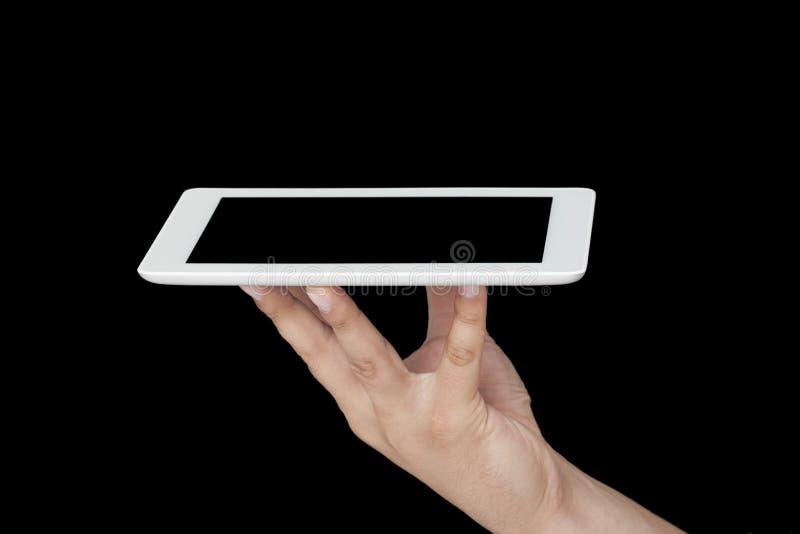 Halten der Tablette mit den Händen lizenzfreies stockfoto