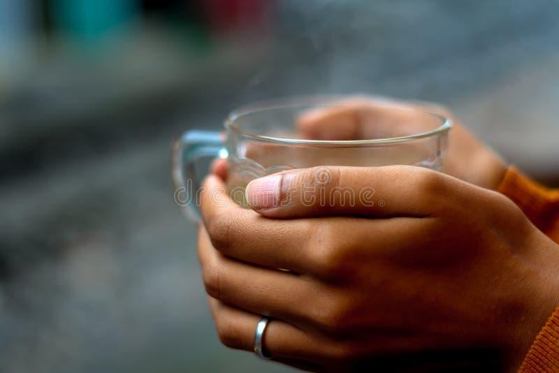 Halten einer Tasse Tee durch Schienen lizenzfreie stockfotografie