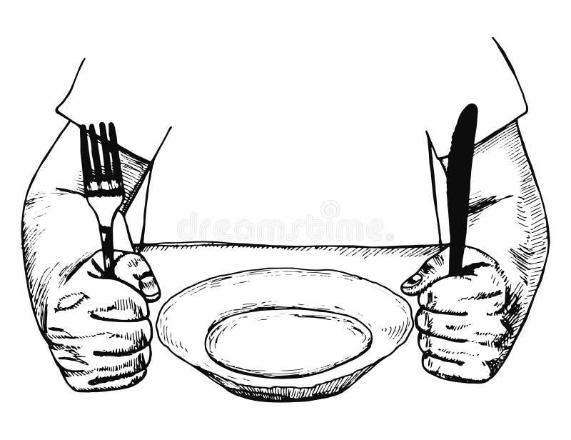 Halten eines Gabel- und Messertischbesteckvektors Die Platte auf dem Tisch vektor abbildung