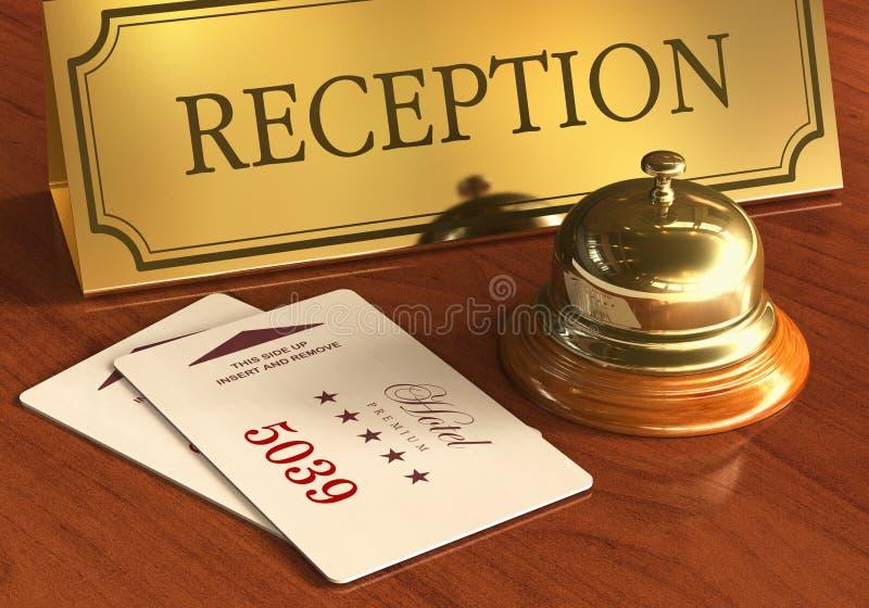 Halten Sie Glocke und cardkeys auf Hotelaufnahmeschreibtisch instand stock abbildung