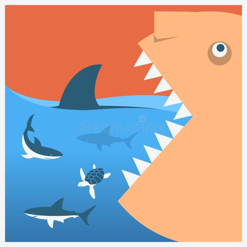Halten Sie Haifische Vektorsymbolplakat vektor abbildung