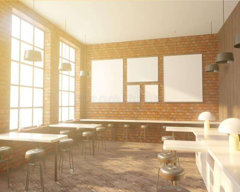 Halten Sie Innenraum mit einer Reihe von Tabellen nahe den Fenstern, Bretterboden ab Wiedergabe 3d Spott oben vektor abbildung