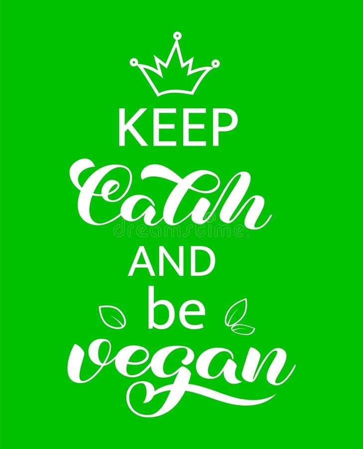 Halten Sie Ruhe und Beschriftung des strengen Vegetariers zu sein Zitat für Fahne oder Plakat Auch im corel abgehobenen Betrag vektor abbildung