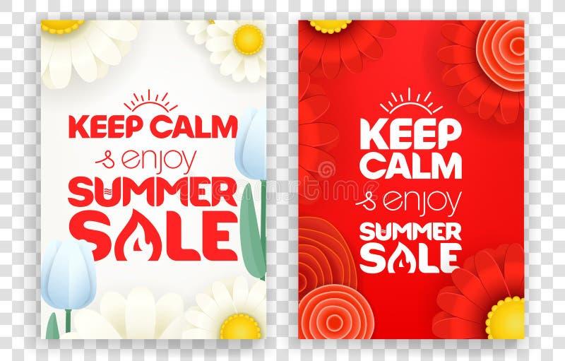 Halten Sie Ruhe und genießen Sie Sommerschlussverkauf vektor abbildung