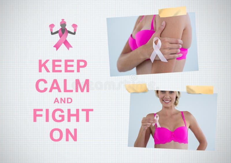 Halten Sie Ruhe und kämpfen Sie auf Text und Brustkrebs-Bewusstseins-Foto-Collage lizenzfreies stockbild