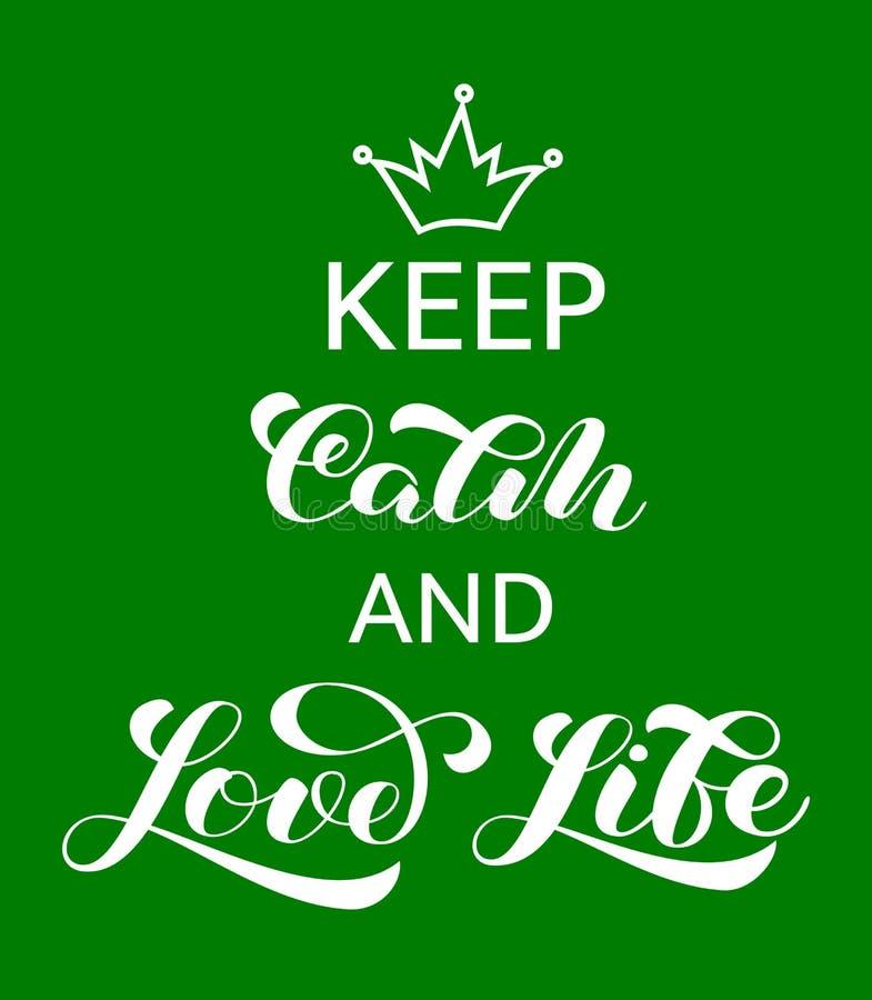 Halten Sie Ruhe und Liebes-Lebenbeschriftung Zitat f?r Fahne oder Plakat Auch im corel abgehobenen Betrag vektor abbildung
