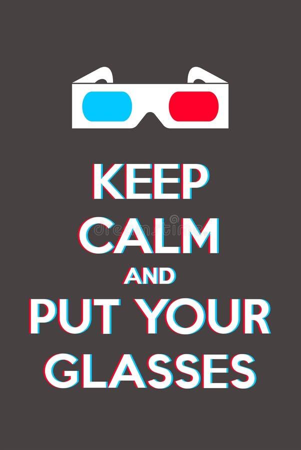 Halten Sie Ruhe und setzen Sie Ihre Gläser lizenzfreie abbildung
