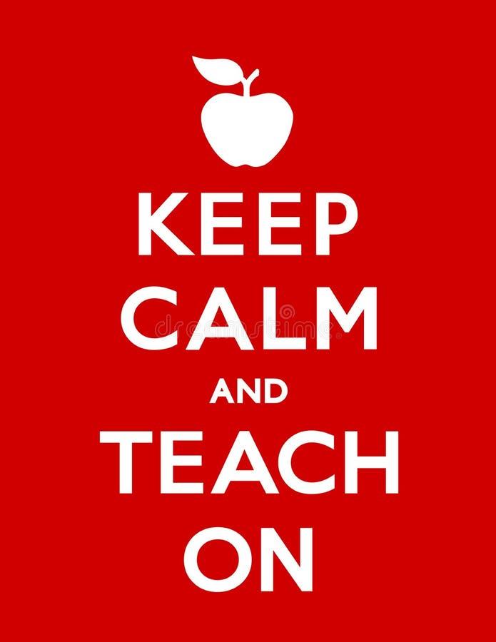 Halten Sie Ruhe und unterrichten Sie auf Plakat, Apple für den Lehrer vektor abbildung