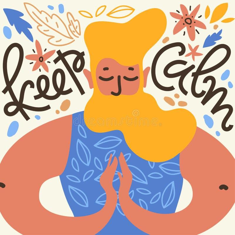 Halten Sie Ruhe Vektorillustration mit meditieren Mann mit dem Bart in namaste Haltung, Blättern und Blume unter lizenzfreie abbildung