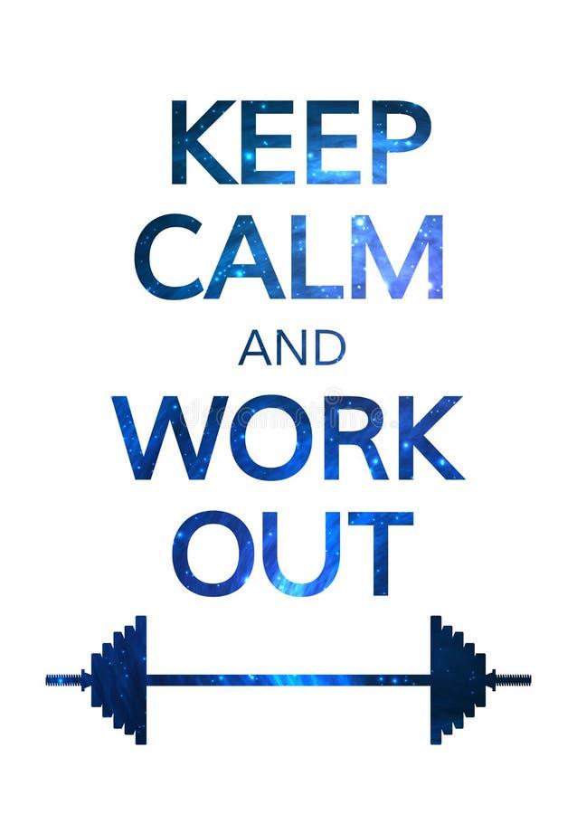 Halten Sie ruhig und arbeiten Sie Motivations-Zitat aus bunt stock abbildung